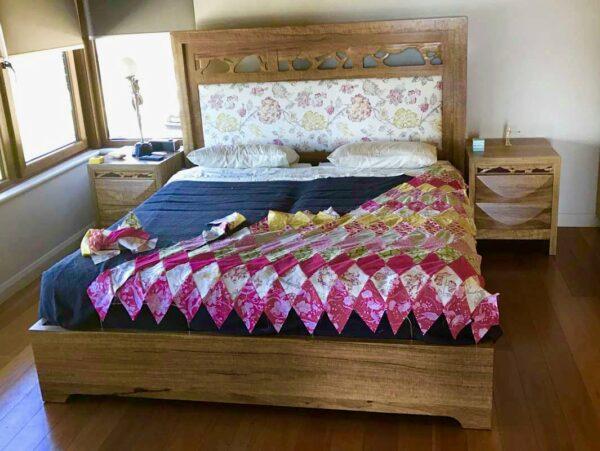 Filigree Bed & Upholstered Headboard Fine Art