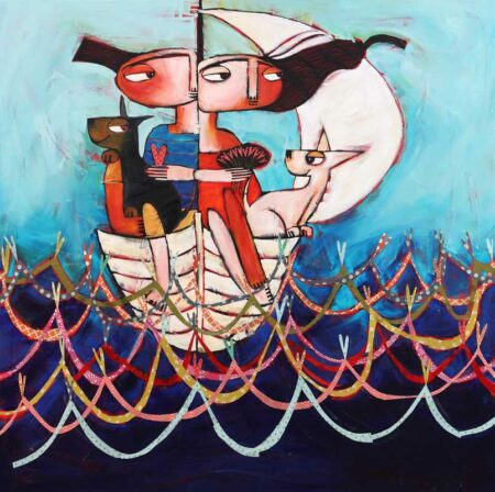 Janine Daddo On Waves Of Love They Sailed Painiting