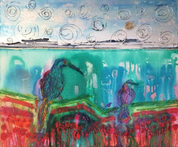 Karin Luciano Somewhere I Know Your Still There Painting