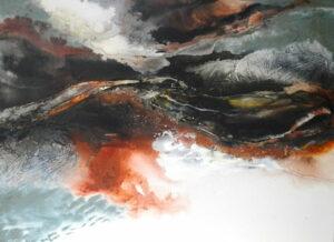 Astrid Dahl Moody Skies Frothy Seas Painting