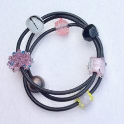 Evelyn Henschke   Pink & Pearl 3 Strand Bracelet Fine Art