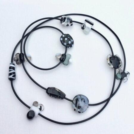 Evelyn Henschke Necklace Long Black White