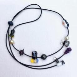 Evelyn Henschke   Adjustable Glass & Pearl Necklace Fine Art