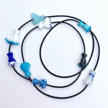 Evevlyn Henschke Necklace Long Dress Shaped Blue Beads