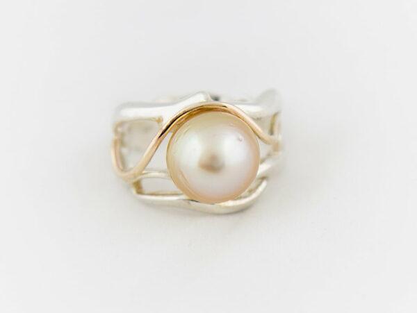 Gemma Baker Swirl Golden Pearl Ring