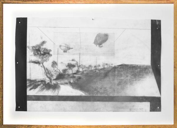 Katharina Meister Flying Houses Drawing Framed