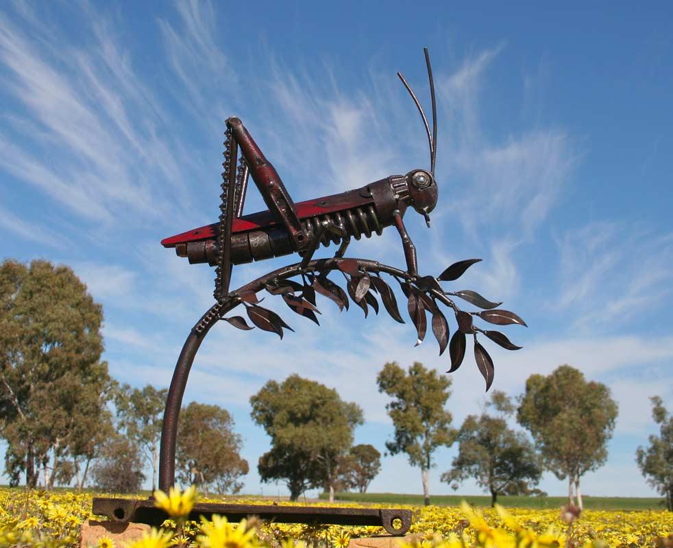 Jordan Sprigg Red Legged Grasshopper Metal Sculpture