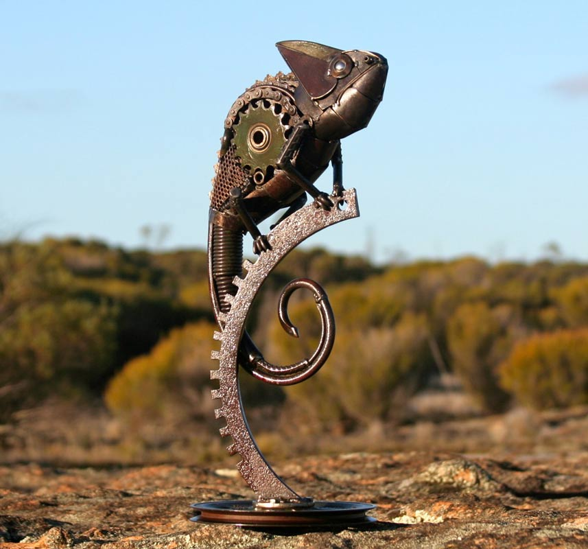 Jordan Sprigg The Veiled Cameleon Metal Sculpture1