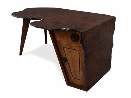 Folded Ranges Designer Burl Desk Front Angle
