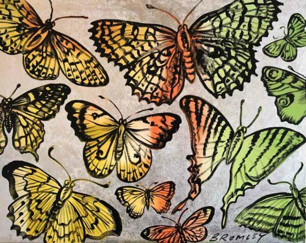 Butterflies Green Yellow 152X122Cm Acrylic And Metal Gilding 16000