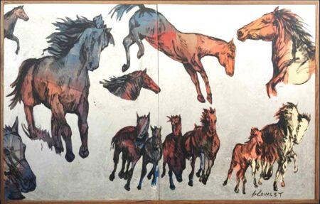 David Bromley Big Horses Ii Painting
