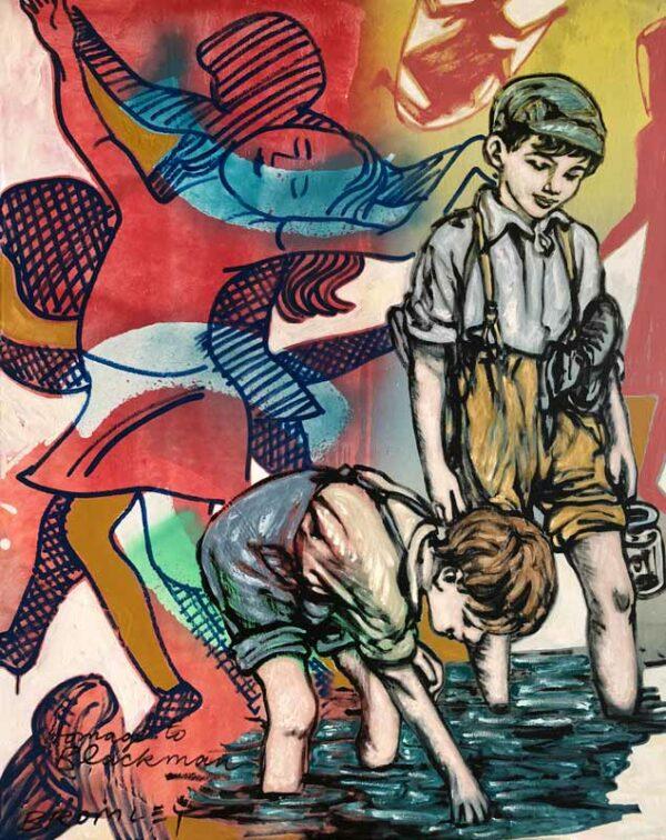 David Bromley Water Boys Homage To Blackman Painting