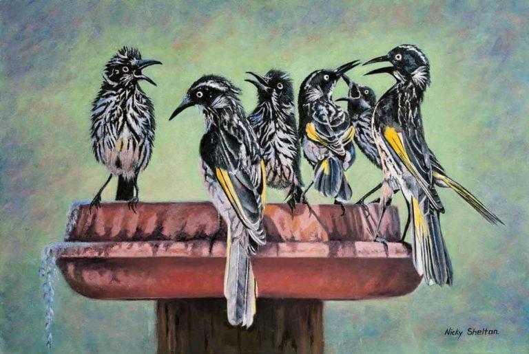 Nicky Shelton Family Reunion Bird Painting 768x515
