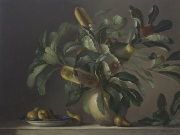 Philip Drummond Banksia And Pears Painting