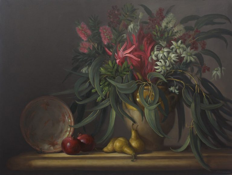 Philip Drummond Native Flowers with Pears and Pomegrantes Painting 768x579