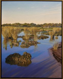 Christine Lawrence Clay Pan with Cane Grasses painting framed 247x308