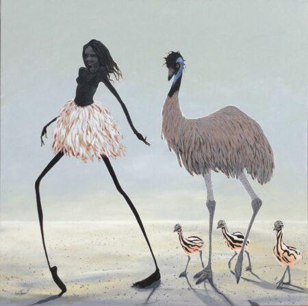 Judy Prosser Emu Girl Painting