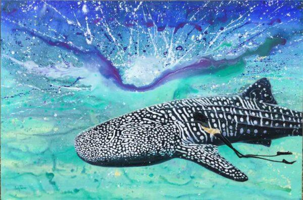 Judy Prosser Whale Shark Girl Painting