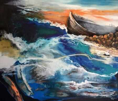 Astrid Dahl Help Me Steer These Stormy Seas Painting