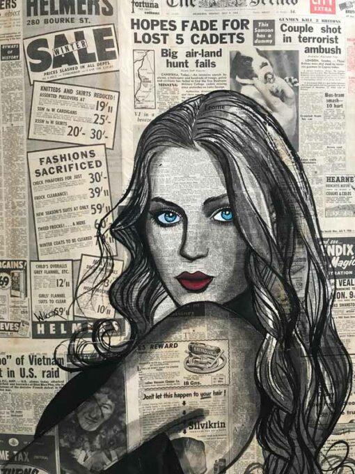 charles wilcox the sunbaker vintage newspaper girl painting
