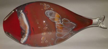 Rick Cook Fish Form Goldband Glass Art