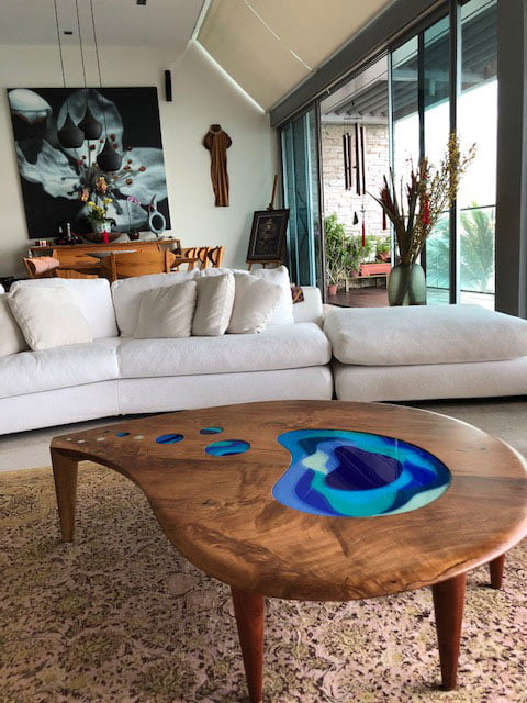 lagoon coffee table marri with glass commission in home