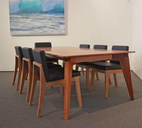 stirling dining table with bremmer upholstered dining chairs