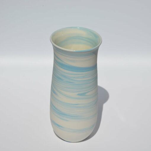 dgr dariya gratte blue swirl porcelain vase med
