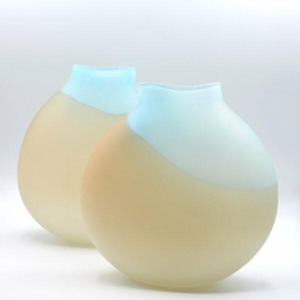 Gordon Studio Glass Gem Vase Blue White 220