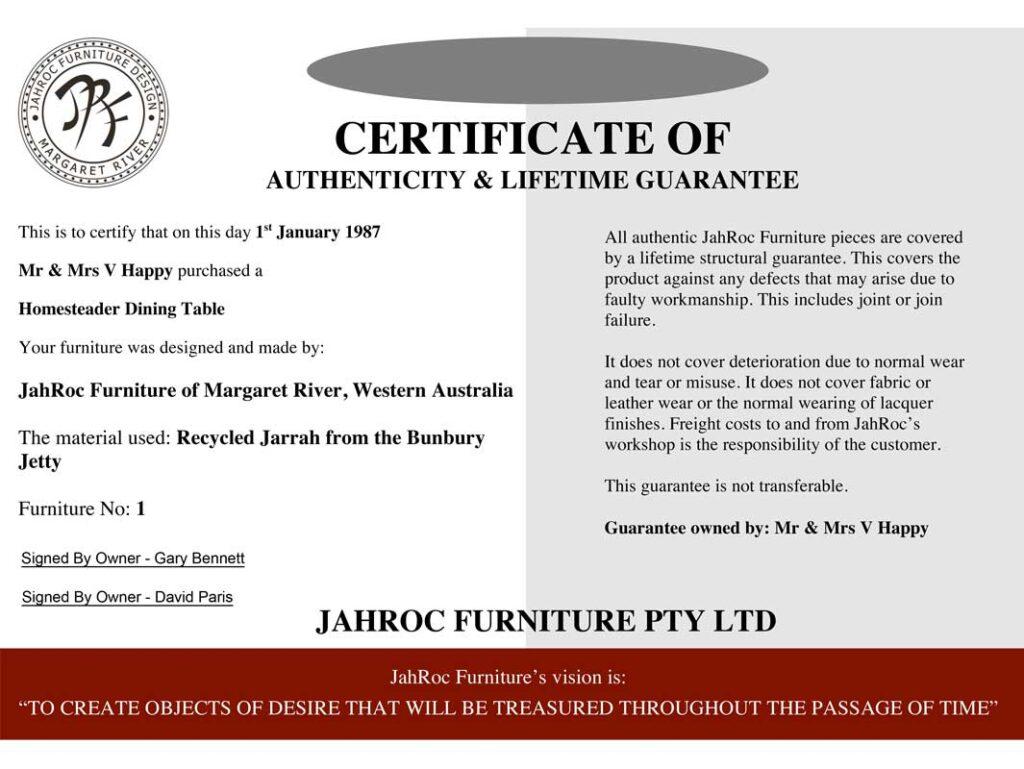jahroc furniture guarantee certificate website