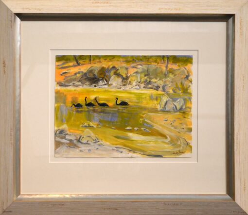 judy prosser swans on a murchison pool framed painting