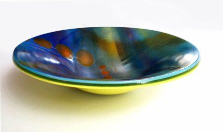 Mah62 Margaret Heenan Cosmos Blue Glass Platter