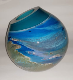 rick cook seascape eclipse form art glass side