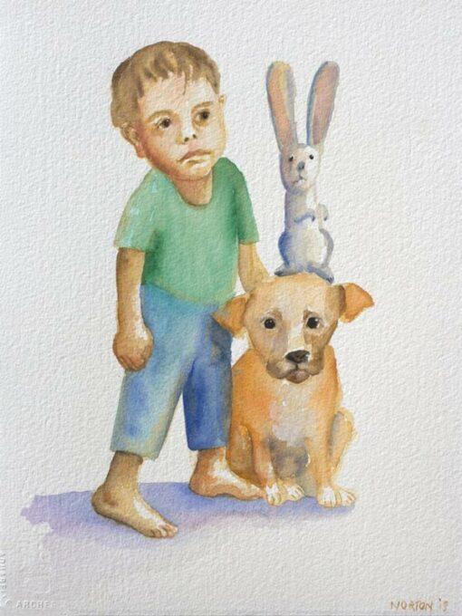 helen norton boy with puppy rabbit painting