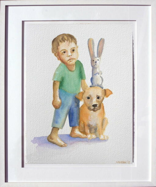 helen norton boy with puppy rabbit painting framed