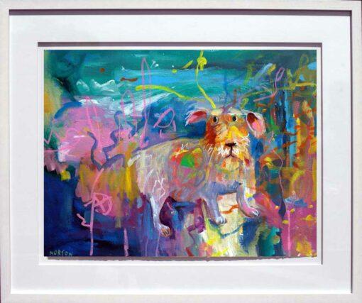 helen norton terrier in park framed painting