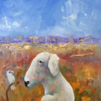 helen norton white dog and cocky painting