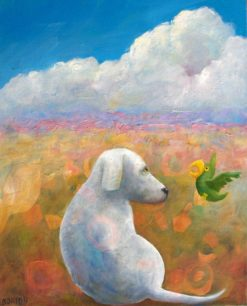 helen norton white dog and green parrot painting