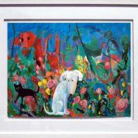 helen norton white dog black cat in garden framed painting
