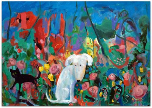 helen norton white dog black cat in garden painting