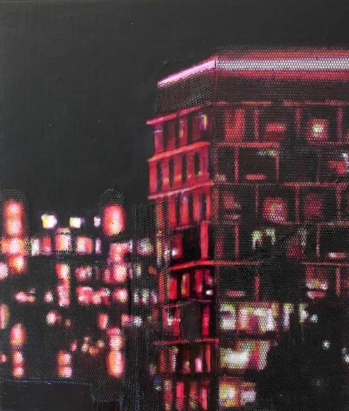 narelle pendlebury council house red night painting