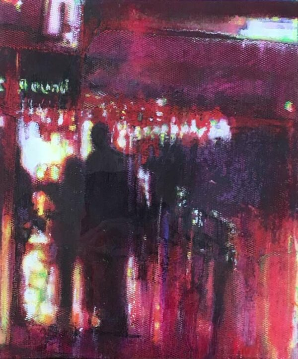 Narelle Pendlebury Hay Street Rainy Night Painting