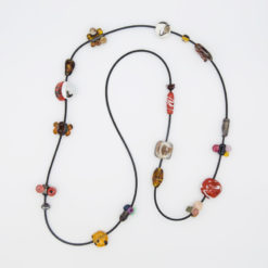 evelyn henschke long brown glass beads necklace