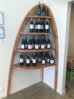 passel estate corner wine display shelves