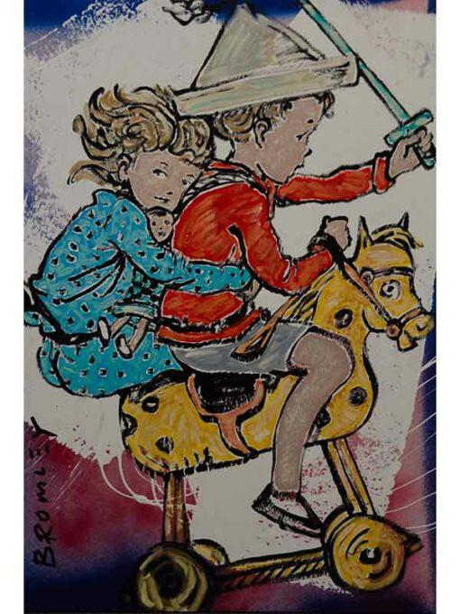 david bromley girl boy horse painting