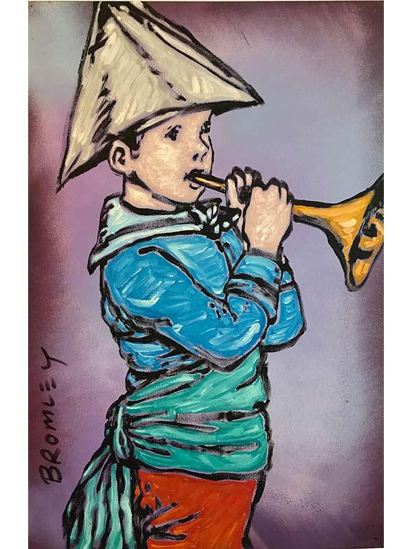 David Bromley Trumpet Boy Painting