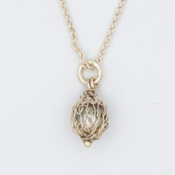 gemma baker silver wrapped pearl pendant