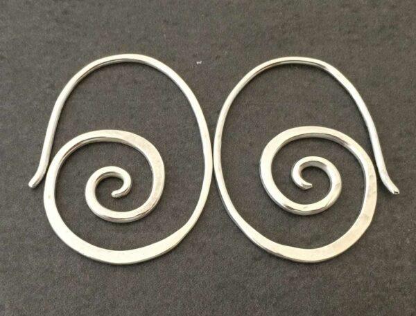 Emma Cotton Scroll Earrings Silver