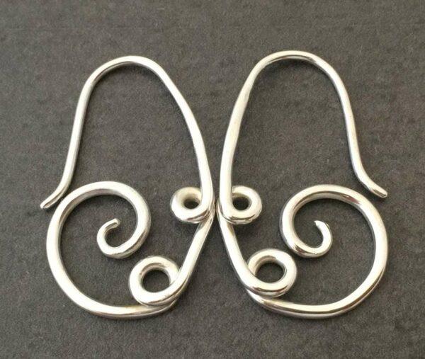 Emma Cotton Scroll Loop Earrings Silver