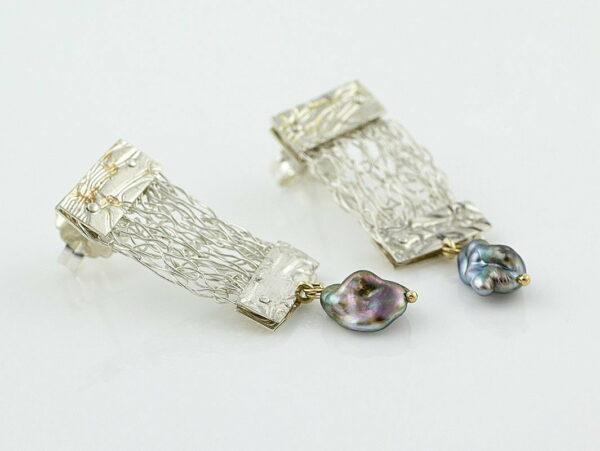 Gemma Baker Embossed Knitted Keshi Earings